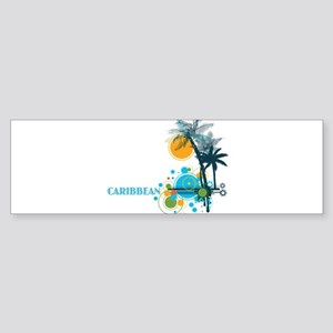 Palm Trees Sun and Circles CARIBBEA Bumper Sticker