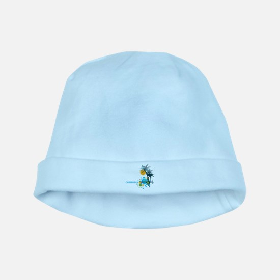 Palm Trees Sun and Circles CARIBBEAN baby hat