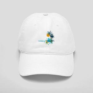 Palm Trees Sun and Circles CARIBBEAN Cap