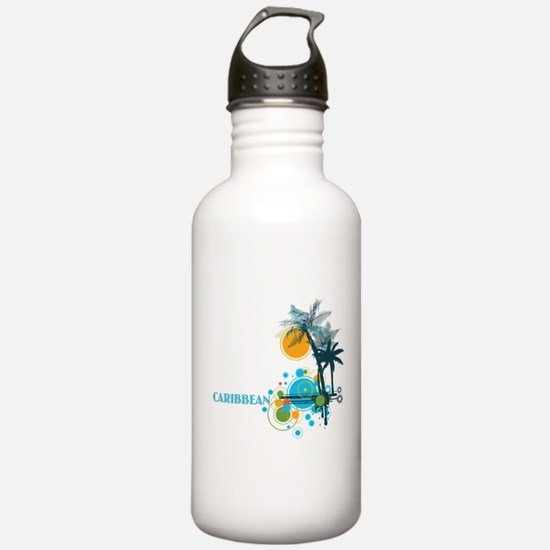 Palm Trees Sun and Cir Water Bottle