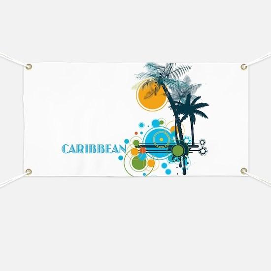 Palm Trees Sun and Circles CARIBBEAN Banner