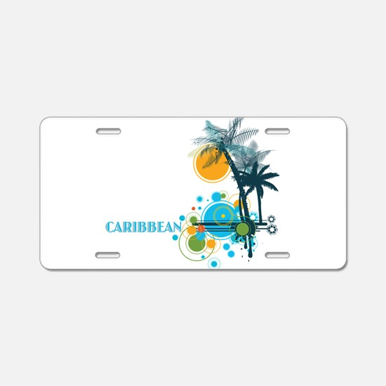 Palm Trees Sun and Circles Aluminum License Plate
