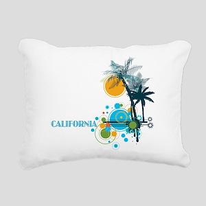 Palm Trees Sun and Circl Rectangular Canvas Pillow