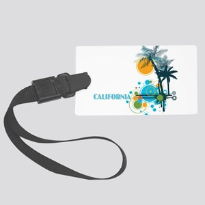 Palm Trees Sun and Circles CALIF Large Luggage Tag