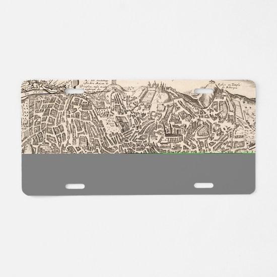 Vintage Pictorial Map of Ne Aluminum License Plate