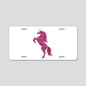 Pink Fire Unicorn Aluminum License Plate