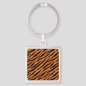 Tiger Fur Square Keychain