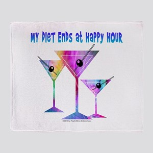 My DIET ENDS at Happy Hour! Throw Blanket