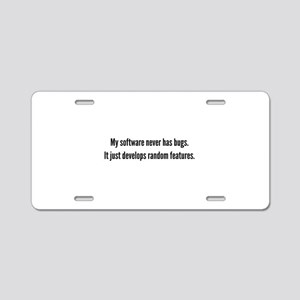 Random Features Aluminum License Plate