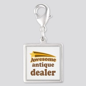 Awesome Antique Dealer Silver Square Charm