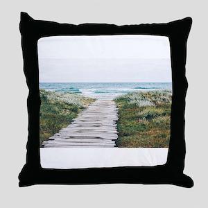 Beach Dock Over the Dunes Throw Pillow