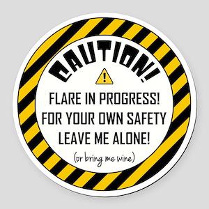 CAUTION! Round Car Magnet