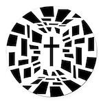 Christian Cross Round Car Magnet