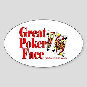 Great Poker Face Oval Sticker