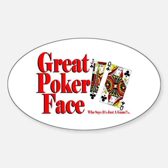Great Poker Face Oval Decal