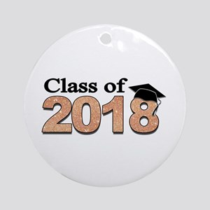 Class of 2018 Glitter Round Ornament