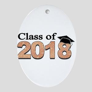 Class of 2018 Glitter Oval Ornament
