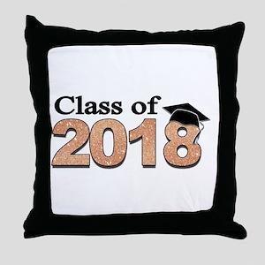 Class of 2018 Glitter Throw Pillow