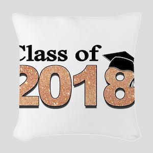 Class of 2018 Glitter Woven Throw Pillow