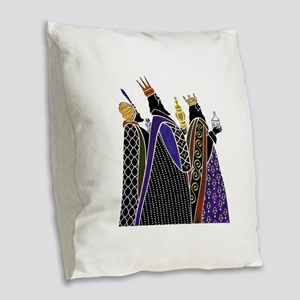 Three Magi Bearing Gifts Burlap Throw Pillow