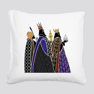Three Magi Bearing Gifts Square Canvas Pillow