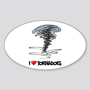 I Love Tornado Oval Sticker