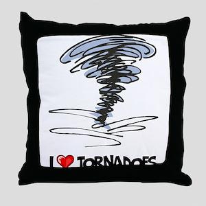 I Love Tornado Throw Pillow