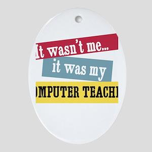 Computer Teacher Oval Ornament
