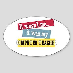 Computer Teacher Oval Sticker