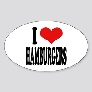 I Love Hamburgers (word) Oval Sticker