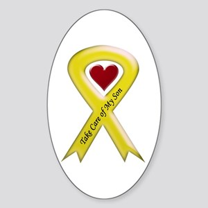 Take Care of my Son Yellow Ribbon Oval Sticker