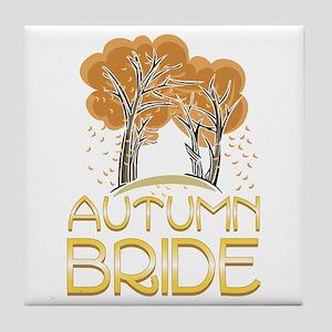 Fall Autumn Bride Tile Coaster