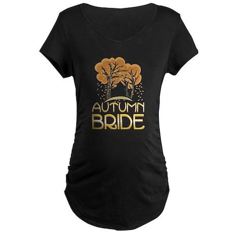 Fall Autumn Bride Maternity Dark T-Shirt