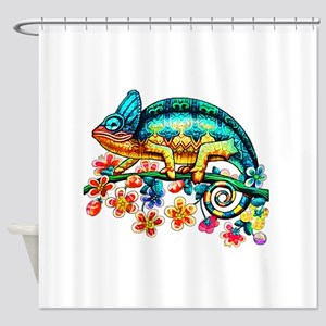 Colorful Camouflage Chameleon Shower Curtain