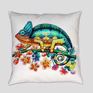 Colorful Camouflage Chameleon Everyday Pillow