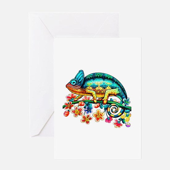 Colorful Camouflage Chameleon Greeting Cards