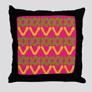 Hot Pink Indian Print Throw Pillow
