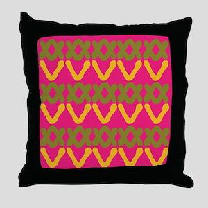 Hot Pink Indian Print Throw Pillow