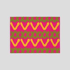 Hot Pink Indian Print 5'x7'Area Rug