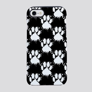 White Dog Paw Pattern With Pai iPhone 7 Tough Case