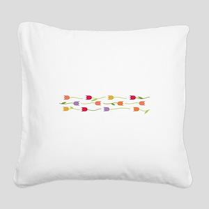 Tulip Border Square Canvas Pillow