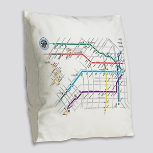 Buenos Aries Underground Subte Burlap Throw Pillow