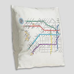 Buenos Aries Underground Subte Burlap Throw Pillow