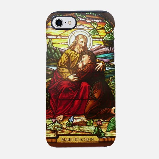 stained glass Jesus in an embr iPhone 7 Tough Case