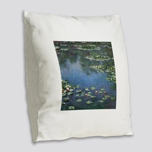 Waterlilies by Claude Monet Burlap Throw Pillow