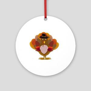 Cute Thanksgiving Turkey Ornament (Round)