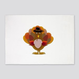Cute Thanksgiving Turkey 5'x7'Area Rug
