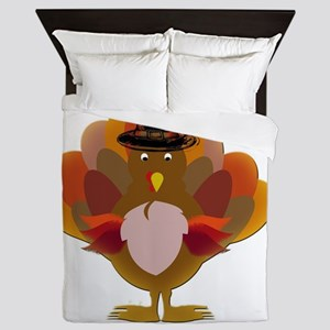 Cute Thanksgiving Turkey Queen Duvet