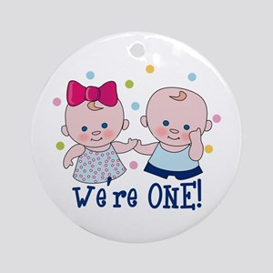 We're One Boy & Girl Round Ornament