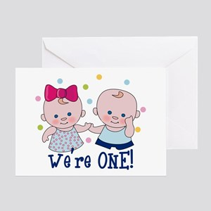 Were One Boy Girl Greeting Card